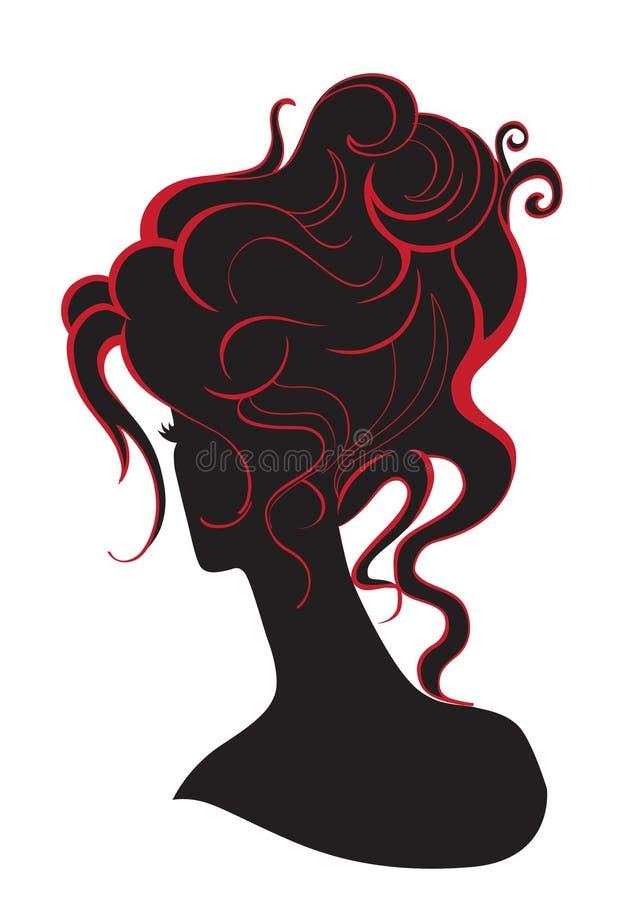 Flicka med en hög frisyr vektor illustrationer