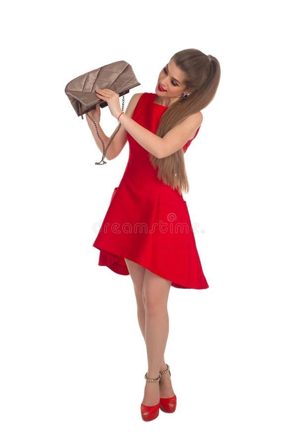 Flicka med en koppling royaltyfri bild