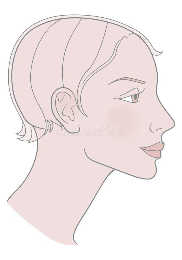 Flicka med en kort frisyr och en härlig skalle mall vektor illustrationer