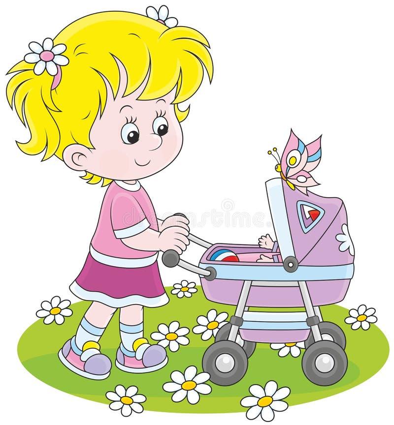 Flicka med en leksakbarnvagn stock illustrationer