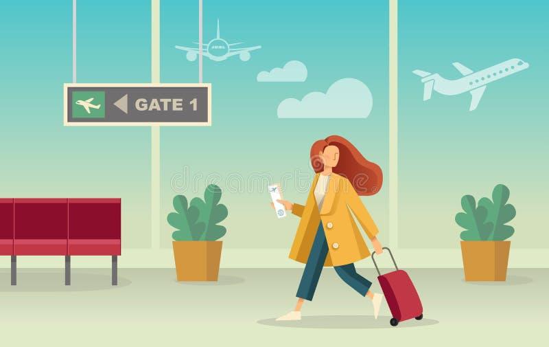 Flicka med en resv?ska p? flygplatsen Vektorillustration i plan stil stock illustrationer