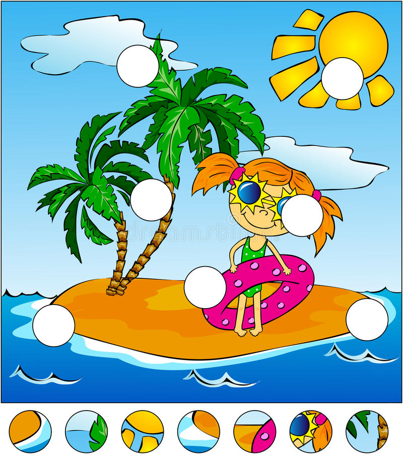 Flicka med en rosa rubber cirkel gömma i handflatan den klara ön 3d framförandeskytrees royaltyfri illustrationer