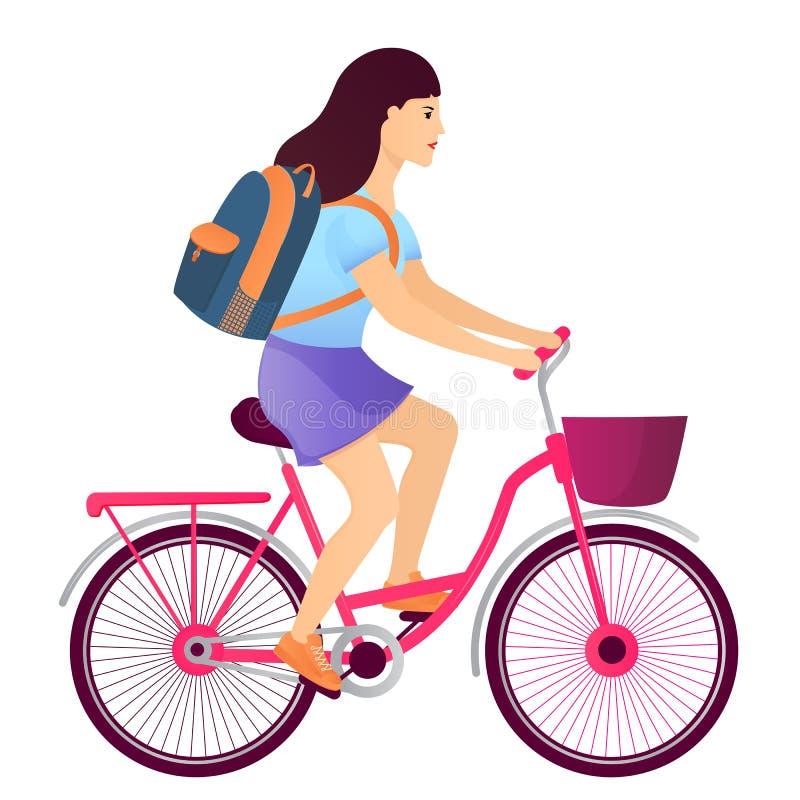 Flicka med en ryggsäck som rider en cykel tillbaka begreppsskola till stock illustrationer