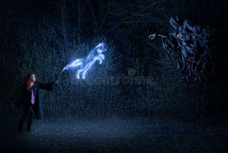 Flicka med en trollspö i skogstridighet med demonen royaltyfria bilder