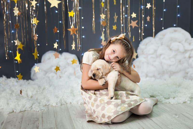 Flicka med en valp i en studio med en guld- stjärnadekor royaltyfria bilder