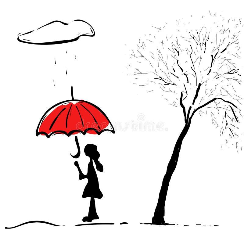 Flicka med ett paraply i regnigt v?der ocks? vektor f?r coreldrawillustration vektor illustrationer