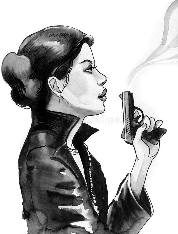 Flicka med ett vapen royaltyfri illustrationer