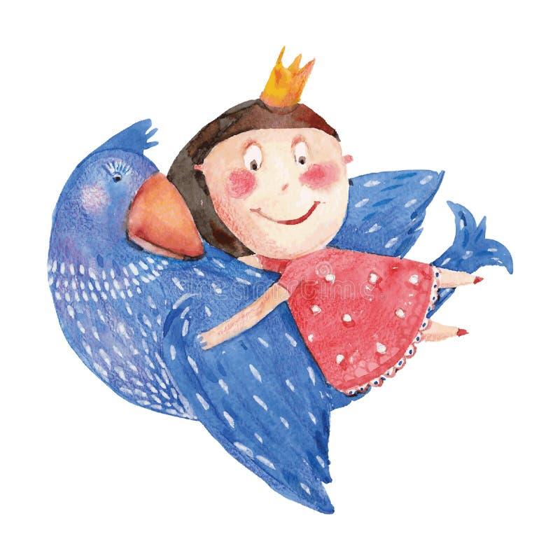 Flicka med fågeln stock illustrationer