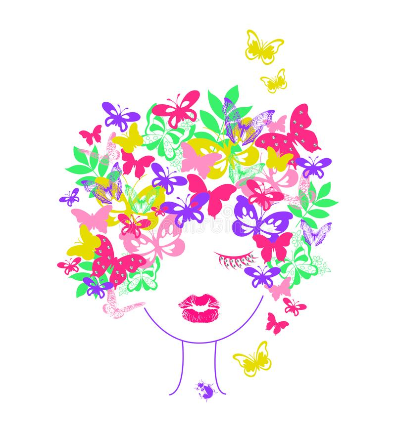 flicka med fjärilshår, unget-skjorta tryck stock illustrationer