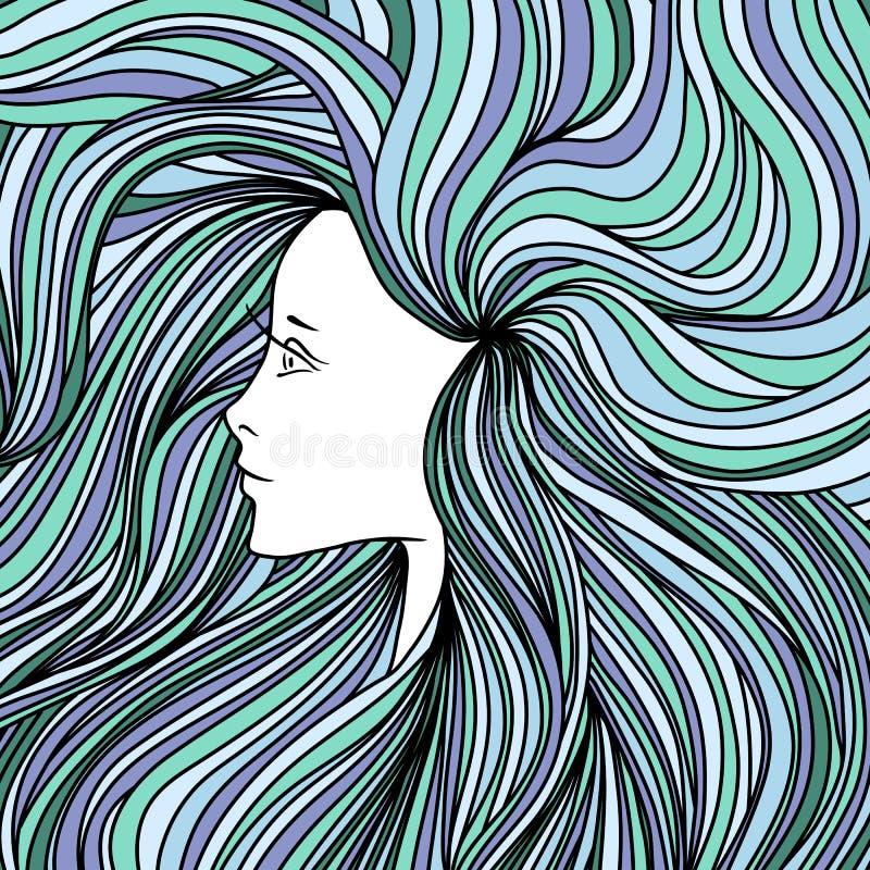 Flicka med hår för lång gräsplan och blått också vektor för coreldrawillustration royaltyfri illustrationer
