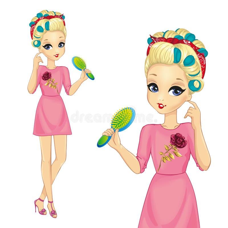 Flicka med hårrullehållhårborsten vektor illustrationer