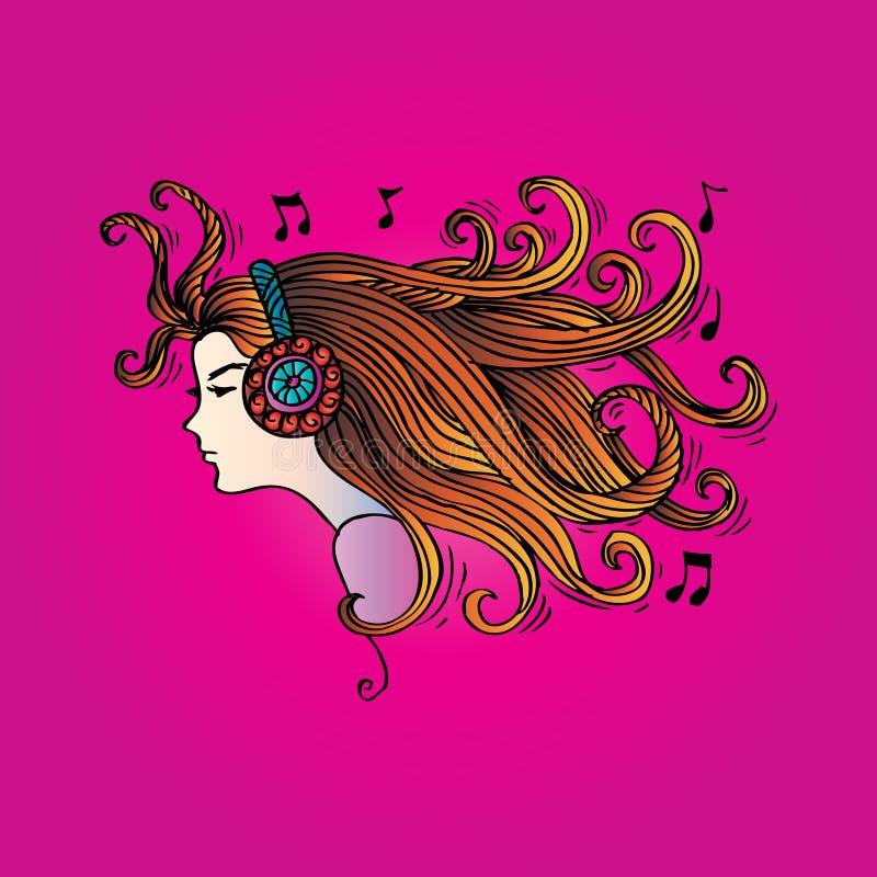 Flicka med hörlurar royaltyfri illustrationer