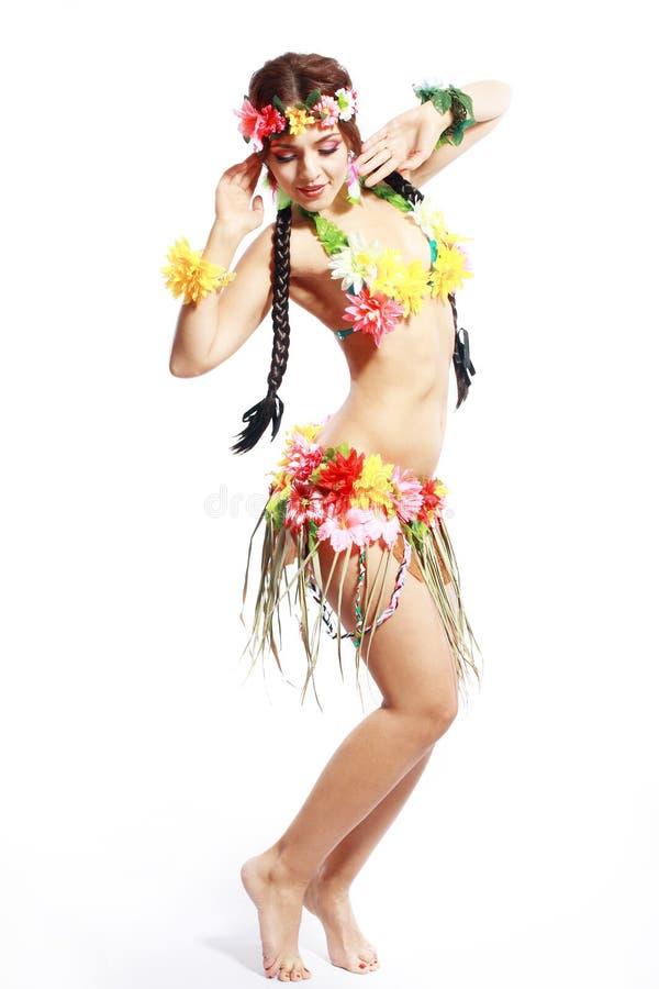 Flicka med hawaiansk tillbehör royaltyfri fotografi