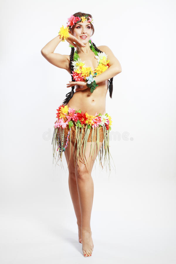 Flicka med hawaiansk tillbehör arkivfoto