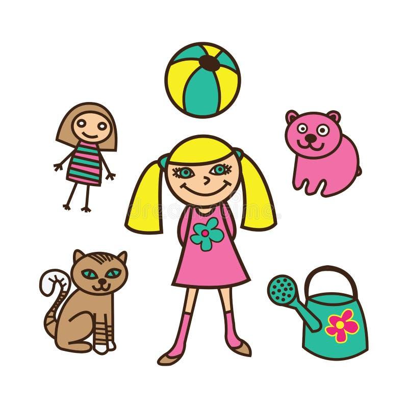 Flicka med hennes leksaker och husdjur stock illustrationer