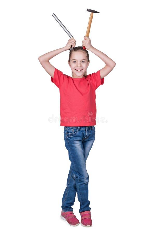 Flicka med horn ut ur hjälpmedel arkivfoto