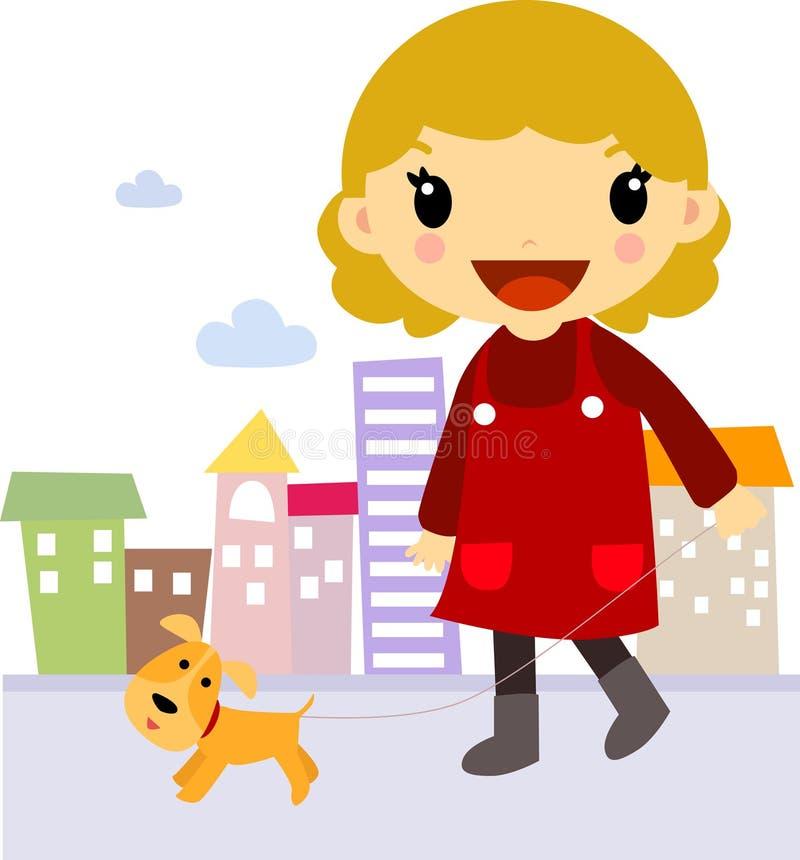 Flicka med hundvän vektor illustrationer