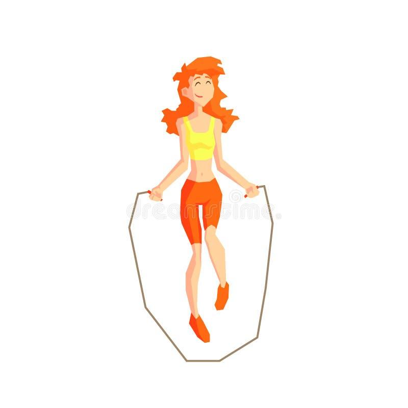 Flicka med illustrationen för vektor för överhopprep royaltyfri illustrationer