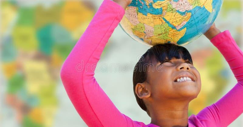Flicka med jordklotet på huvudet mot oskarp översikt stock illustrationer