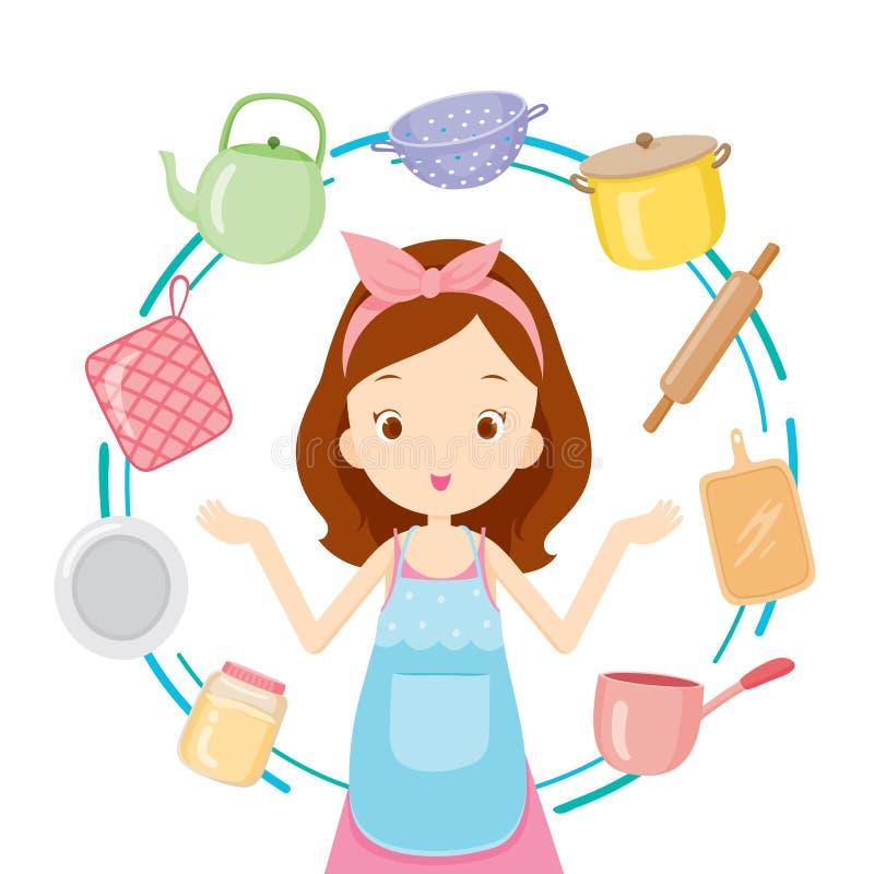 Flicka med kökutrustningar vektor illustrationer