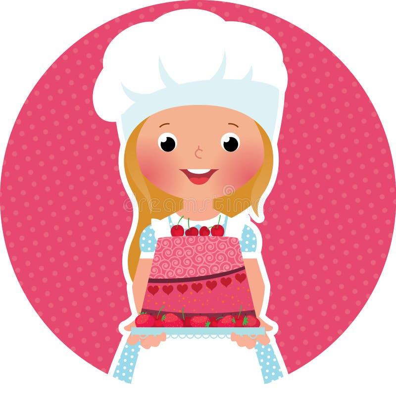 Flicka med kakabagaren royaltyfri illustrationer