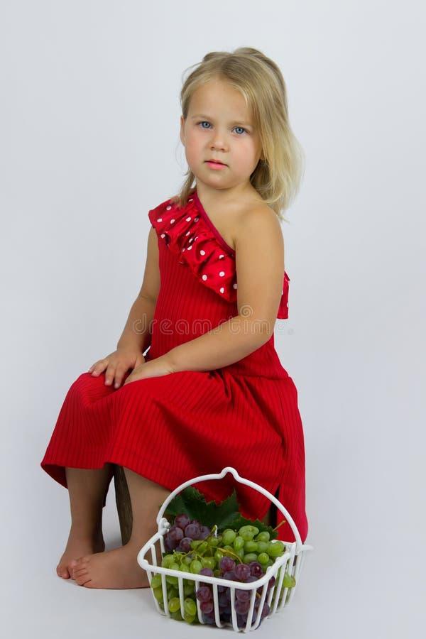 Flicka med korgen av druvor arkivfoto