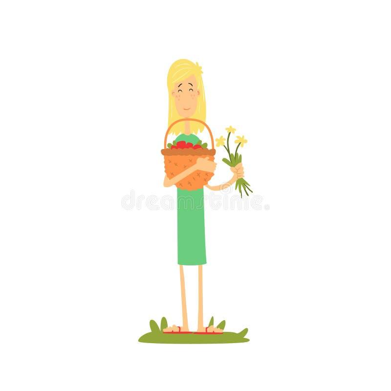 Flicka med korgen av frukter royaltyfri illustrationer