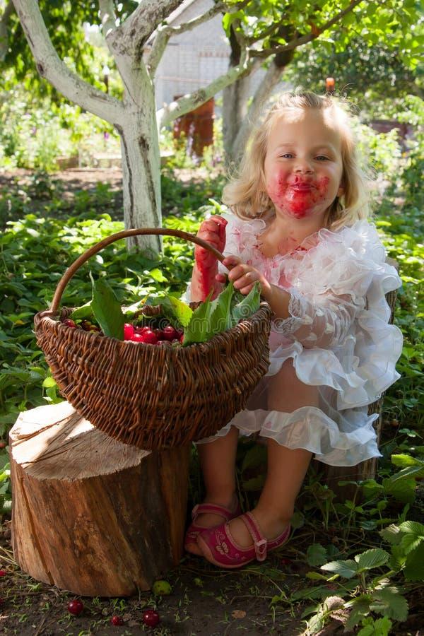 Flicka med korgen av körsbär arkivbild