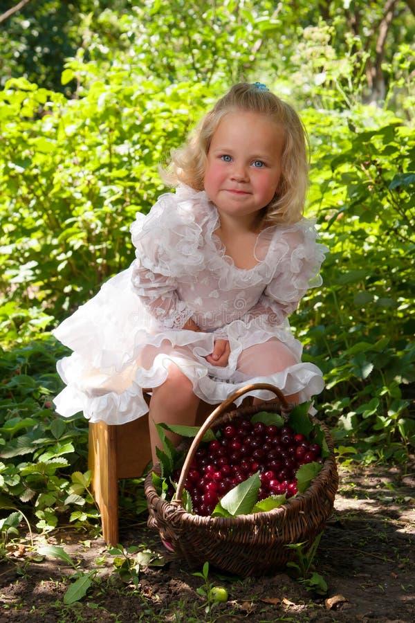Flicka med korgen av körsbär royaltyfria foton