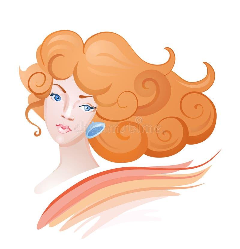 Flicka med krullningsabstrakt begrepp stock illustrationer