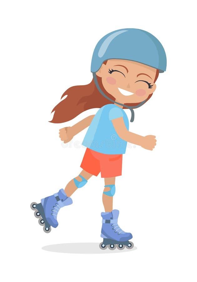 Flicka med långt brunt hår, i att åka skridskor för hjälmrulle stock illustrationer