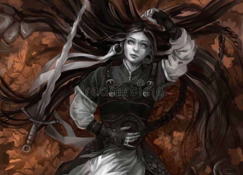 Flicka med långt hår och grå hud med svärdet royaltyfri illustrationer