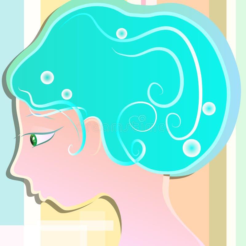 Flicka med ljus - blått hår arkivfoto