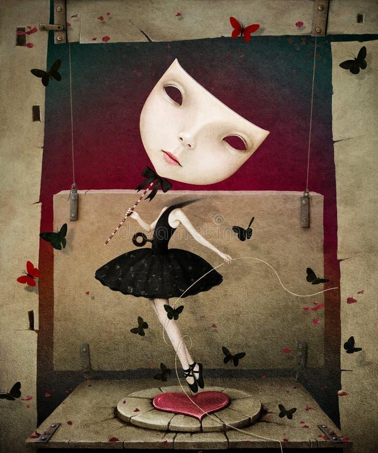 Flicka med maskeringen och hjärta royaltyfri illustrationer