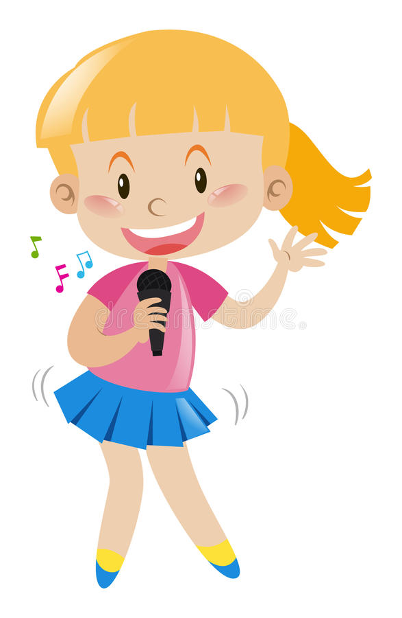 Flicka med mikrofonen som sjunger och dansar stock illustrationer