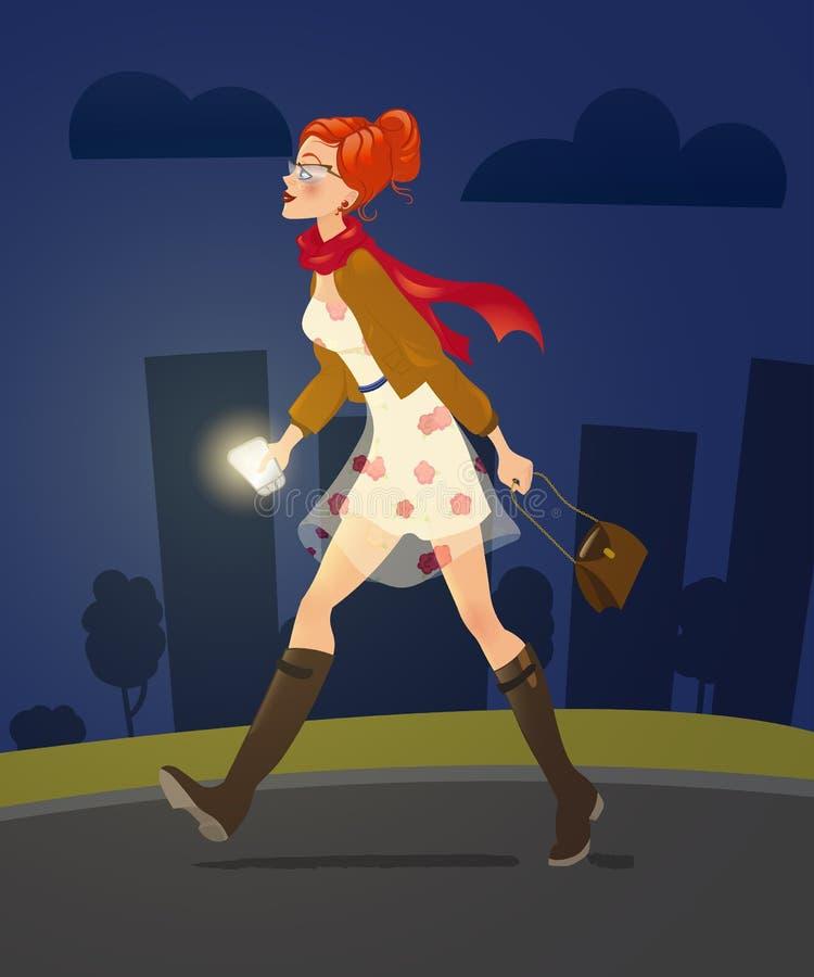 Flicka med mobiltelefonen som bara går på nattgränden 2d teckenpixelizationkvinna royaltyfri illustrationer