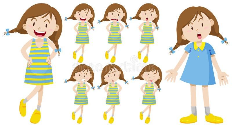 Flicka med olika sinnesrörelser royaltyfri illustrationer