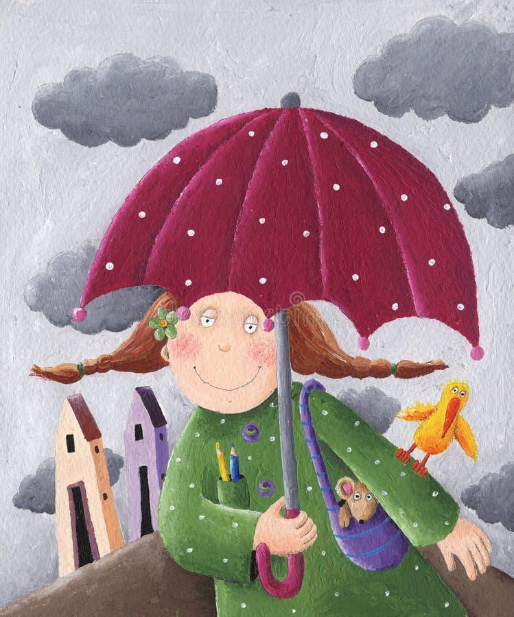 Flicka med paraplyet stock illustrationer