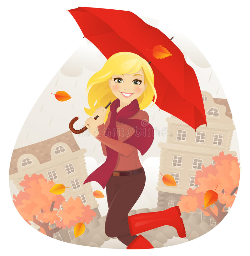 Flicka med paraplyet i nedgång royaltyfri illustrationer