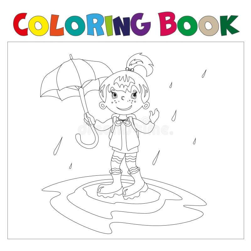 Flicka med paraplyfärgläggningboken vektor illustrationer