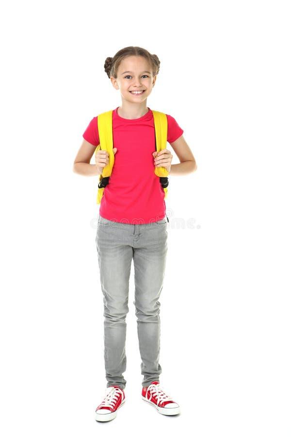 Flicka med ryggsäck royaltyfria foton