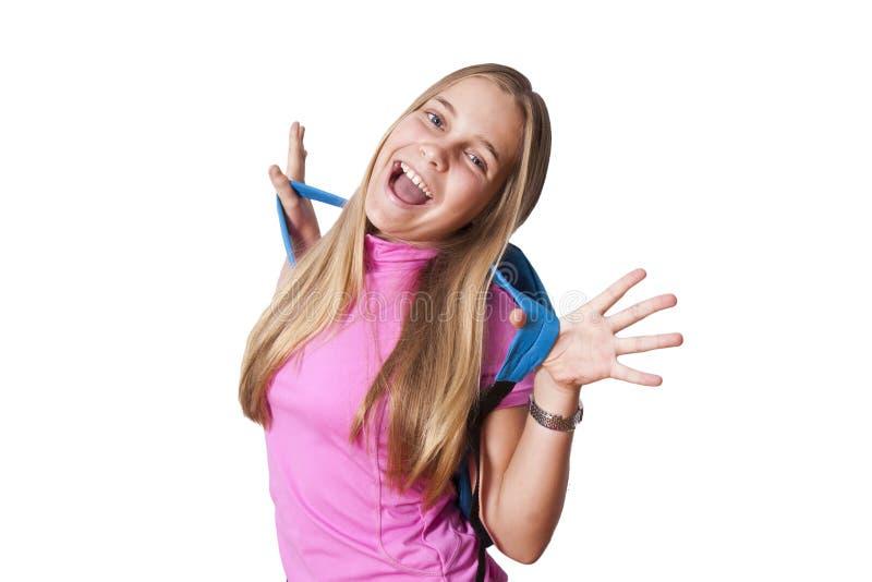 Flicka med ryggsäcken arkivbild