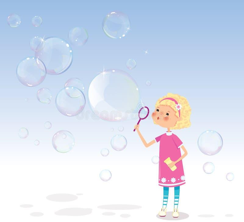 Flicka med såpbubblor royaltyfri illustrationer