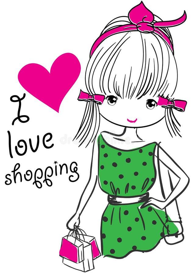 Flicka med shoppingpåsar på gatan stock illustrationer