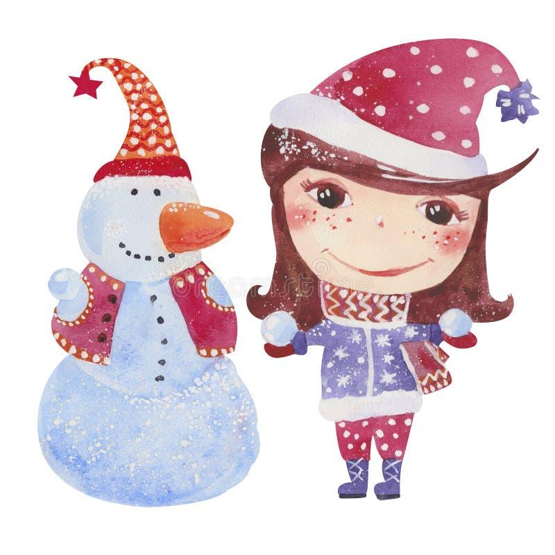 Flicka med snowmanen vektor illustrationer