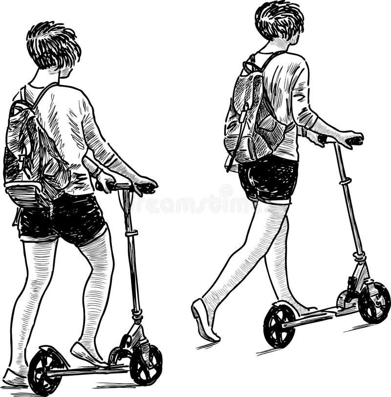 Flicka med sparkcykeln royaltyfri illustrationer
