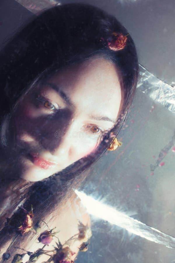 Flicka med torra rosor bak vått exponeringsglas royaltyfria bilder