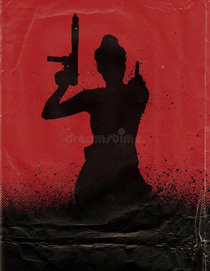 Flicka med vapenfilmaffischen royaltyfri illustrationer