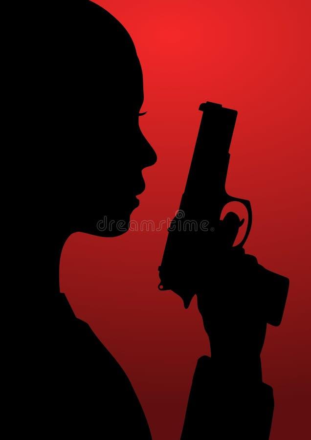 Flicka med vapnet royaltyfri illustrationer