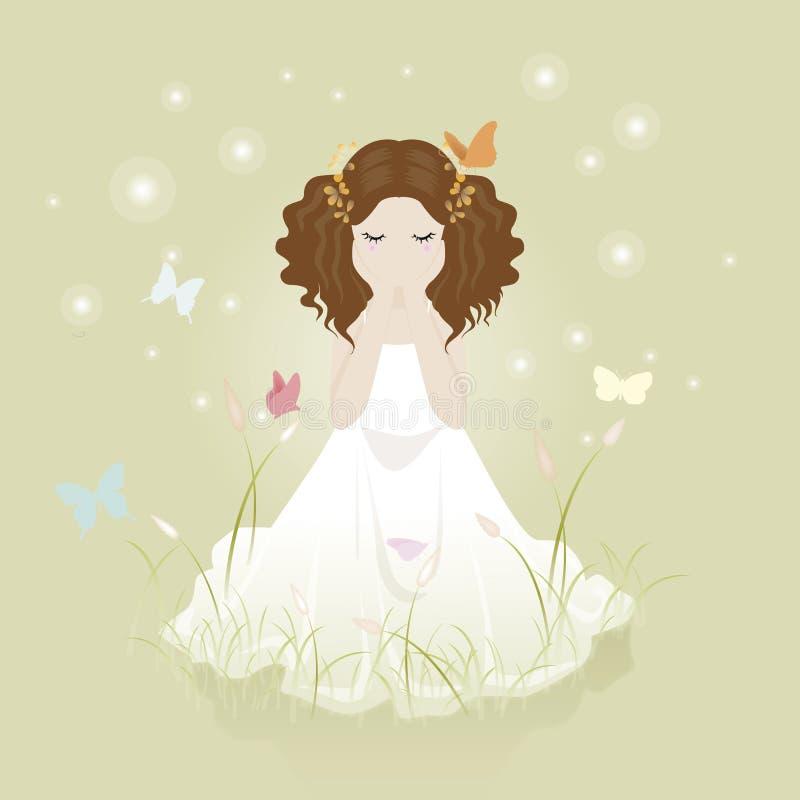 Flicka och blomninggräs royaltyfri fotografi